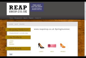 Frontlineweb.biz reapshop E-commerce website site design Lowestoft. Reapshop online shoe shop Lowestoft, Suffolk, Norfolk